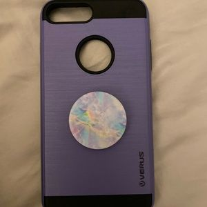 THREE iphone 8+ cases with pop socket, pop wallet
